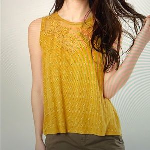 Lucky Brand Tops - Lucky Brand Mustard Floral Embroidered Tank Top